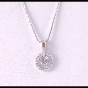 Cubic Zirconia Pendant Necklace 925 Sterling